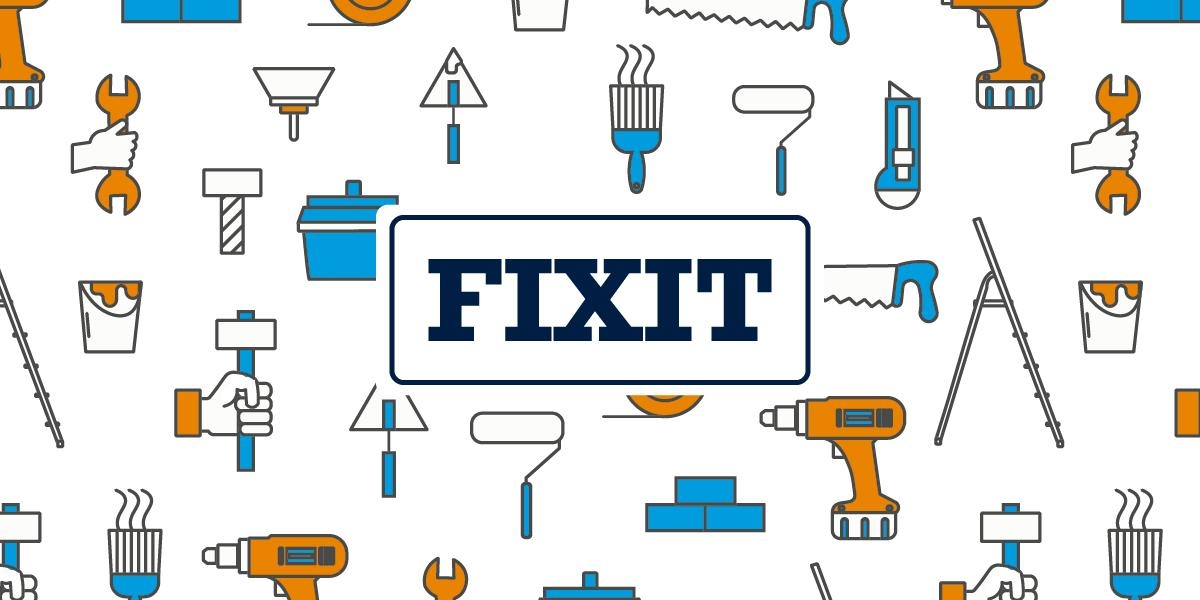 FIXIT headline against a backdrop of illustrations of maintenance tools and supplies