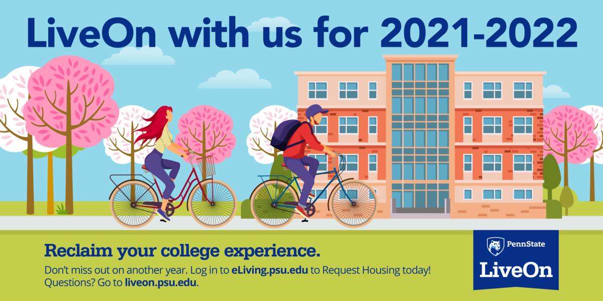 """illustration of students on bikes in the spring with headline """"LiveOn with us for 2021-2022"""""""